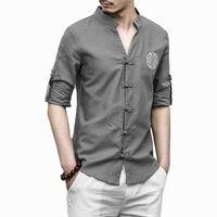 Algodón de lino de los hombres de manga larga Hombre de lino bordado ropa cultura sólido camisa masculina ajuste asiático más tamaño M-5XL