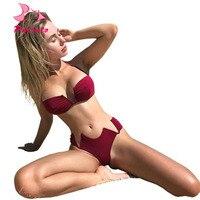 Pacento 2018 Swimwear Women Push Up Sexy Top Deep V Neck Solid Female Bikini Sets Bandeau