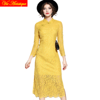 yellow lace floral middle sleeve long qipao haut cheongsam modern vintage chinese bride wedding dress modern shanghai story