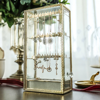 Makeup Organizer Storage Box Transparent Dust proof Necklace Earring Storage Rack Stud Earrings Jewelry Box Glass Copper Strip