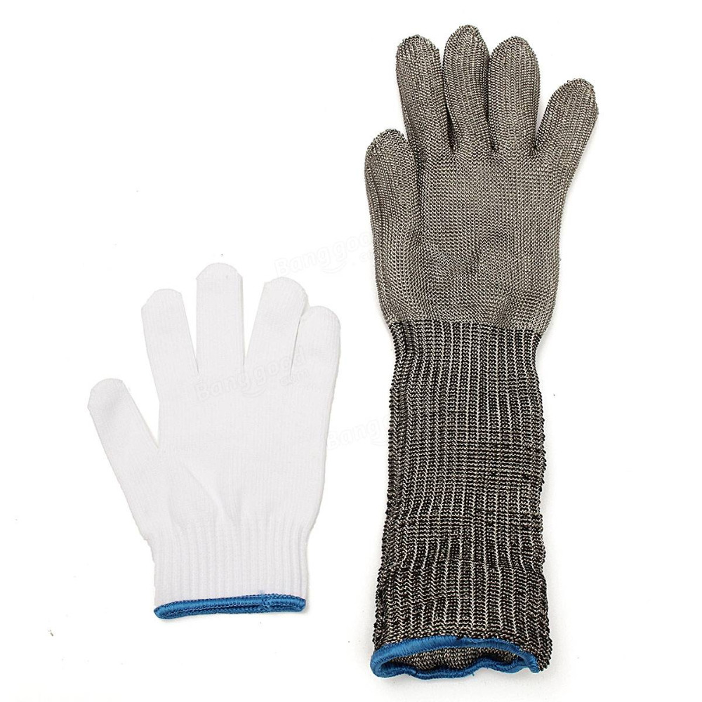Stainless Steel Wire Safety Cut Metal Mesh Butcher Gloves Protector Workplace Safety Gloves  Arm Guard Protection