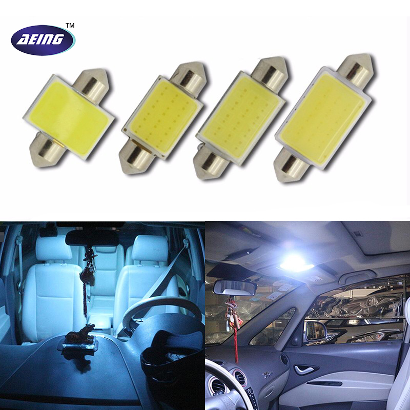 AEING 12V Double Tip LED COB White/Ice Blue 31mm/36mm/39mm/41mm42mm Interior Reading Dome Festoon License Plate Trunk Light Lamp