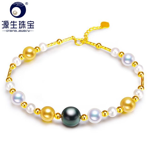 [YS] Fine Jewelry Mix Color Tahitian Akoya Freshwater Pearl 18k Gold Fashion Personalized Bracelets For Women Free Shipping