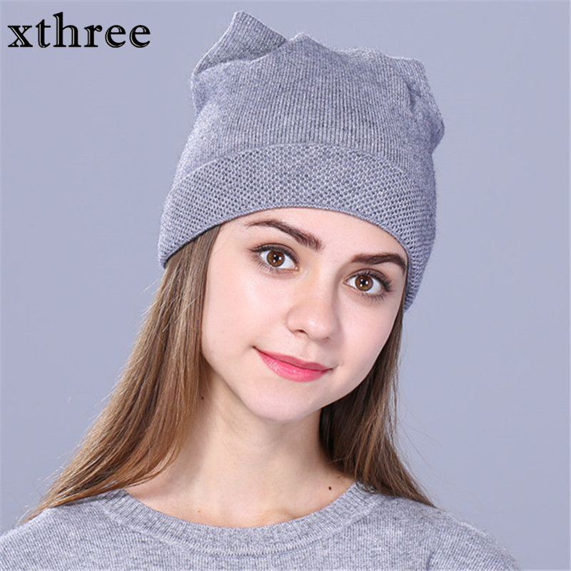 Xthree solid women autumn winter knitted hats cute kitty beanie hat for women girls winter wool cap Skullies gorras
