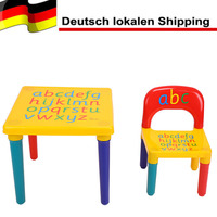 2 Piece Table Chairs Plastic DIY Kids Set Play Toddler Activity Fun Child Toy Kids Table