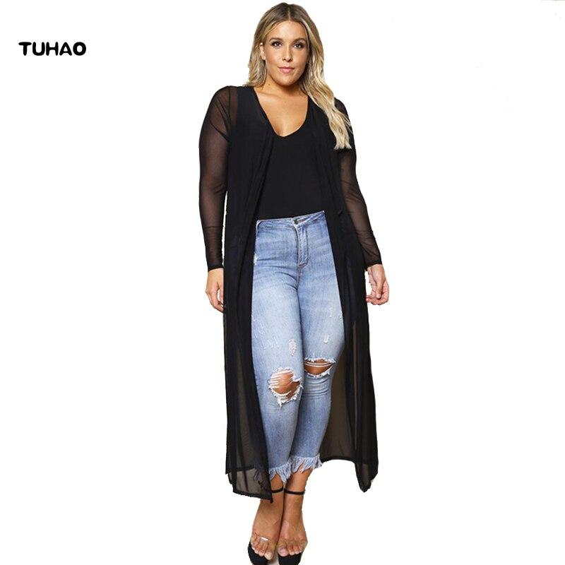 8afd3ac4c Cárdigan largo mujer chifón Maxi blusas largas 2018 nuevo otoño Oversize  prendas de vestir exteriores blusa abierta para mujeres ropa BC90
