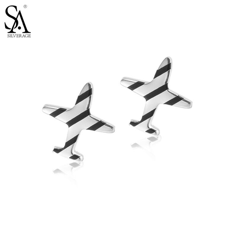 Sa silverage Настоящее стерлингового серебра 925 полосатый самолет Серьги-гвоздики для женщин простой серебряный Серьги Обручение подарок