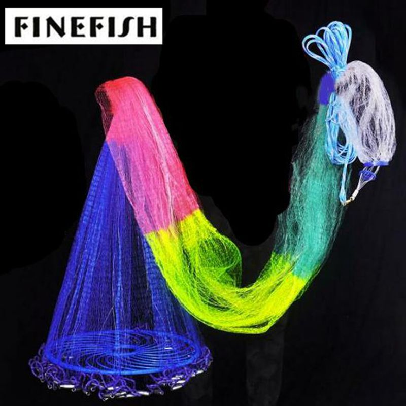 Finefish Monofilament and Multifilament USA Cast Net With Big Ring Easy Hand Throw Network Small Mesh