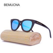 2017 New BEMUCNA Fashion Products Men Women Glass Bamboo Sunglasses au Retro Vintage Wood Lens Wooden Frame Handmade oculos
