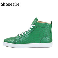 SHOOEGLE Fashion Men Lace Up High Top Shoes Black Snakeskin Sneakers Pattern Ankle Boots High Quality Red Zapatillas Hombre