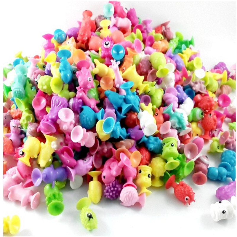 Hot Sale 10 pcs / lot Children Little Colorful Cartoon Ocean Animal Action Figures Toy Mini Monster Sucker Capsule Model 48pcs lot action figures toy stikeez sucker kids silicon toys minifigures capsule children gift