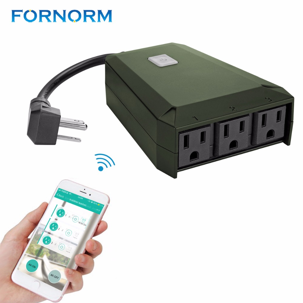 FORNORM WiFi Smart Plug 1 to 3 Extension Socket Outdoor Multi-function Triple Wall Power Outlet Waterproof Timer For iOS Android