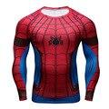 Superhero Spider Man Super Elastic Manga Comprida 3D Camiseta Homens Da Camisa do Exercício de Fitness Fino Skintight Camisa Bicicleta