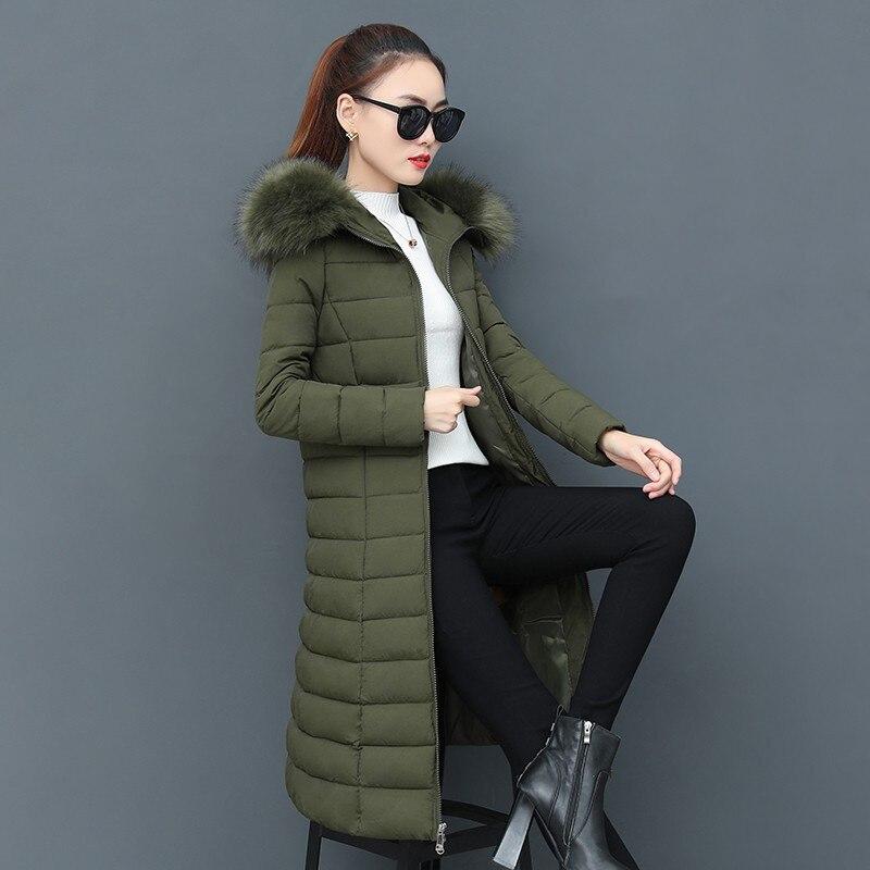 À Green Solide 2018 Coton Col Fourrure Veste Mince Outwear Manteau Faux Z87 Femmes Rembourré Femelle Colour Chaud Épais rose Hiver army gris Coupe Capuchon caramel De Parka vent Noir Longue a0FnqFR8W