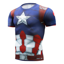 Marvel American Captain 2 Clothing Super Hero Jersey T-Shirt Mens Cosplay Costume Short Sleeve