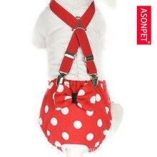 ASONPET трусики собака подгузник для щенка шорты менструации трусики с поясом красный пятнистый XS до L
