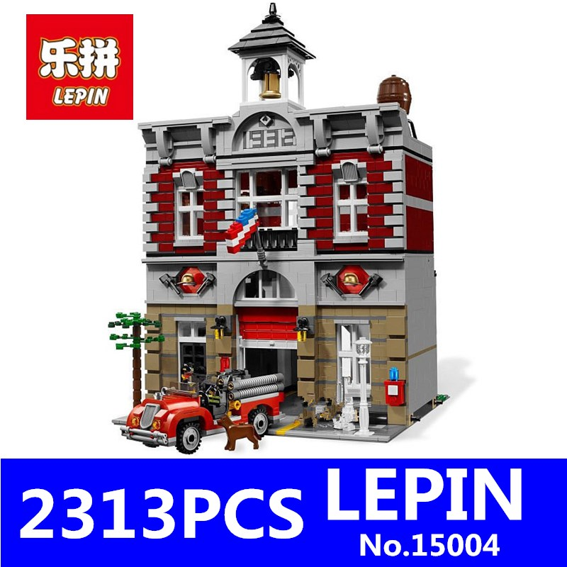 City Creator Fire Brigade Model LEPIN 15004 2313Pcs Building Kits figures Blocks Bricks Compatible Toys for Children Gift 10197 lepin 02012 city deepwater exploration vessel 60095 building blocks policeman toys children compatible with lego gift kid sets