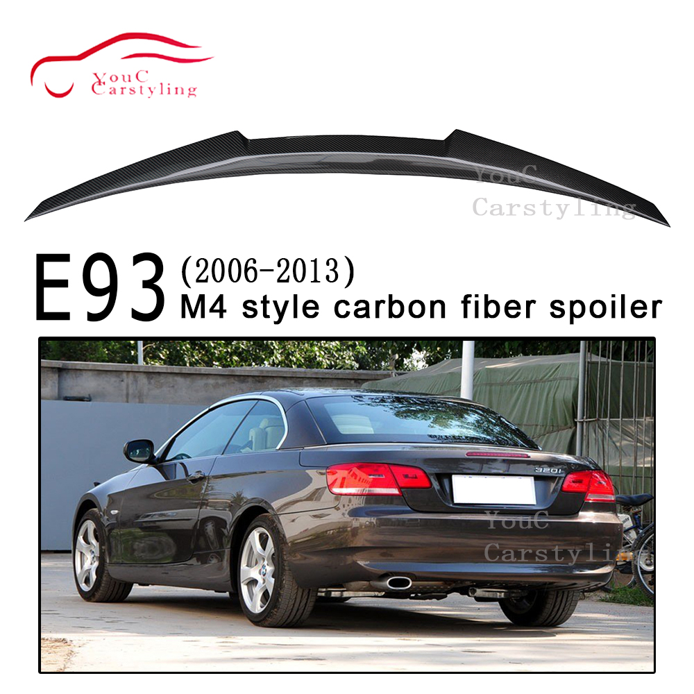 M4 style carbon fiber rear trunk boot spoiler for 3 series E93 convertible 2006-2013