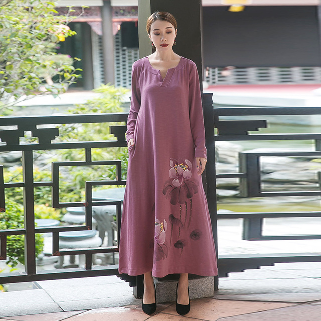 b25f135437 Autumn Women Cotton long Dress comfortable loose China style Lotus hand  painted V neck elegant dress vestidos plus size Tunic5XL