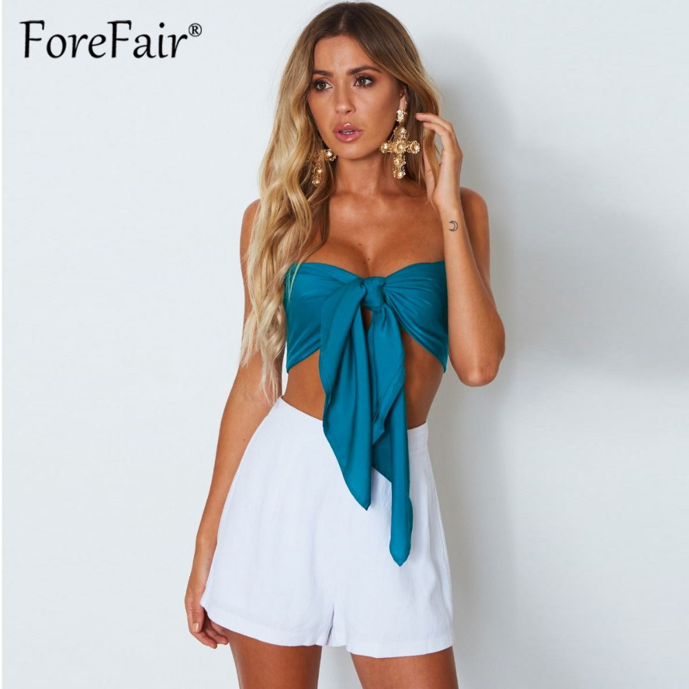 Forefair New More Variety Wear Strapless Tube Crop Top Summer Sexy Night Club Wrapped Tops Women Bandage Cropped Tees 2018