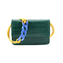 2019 solid color simple small bag female crocodile pattern shoulder chain mini crossbody bag Sac a Main Femme ladies messenger b color splicing geometric pattern metal crossbody bag