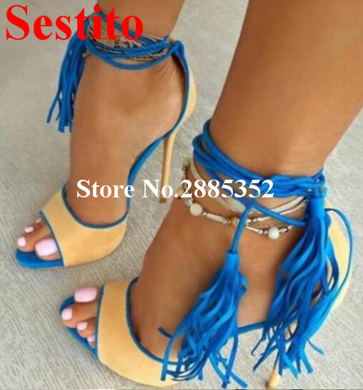 Sestito Hot Sale Summer Strip Shoes Women Sexy Fish Mouth Tassel Studded Ankle Strap Yellow Purple Casual Dress Sandals Women nemaone new hot sale women sandals summer casual fashion fish mouth shoes wedge sandals women shoes free shipping