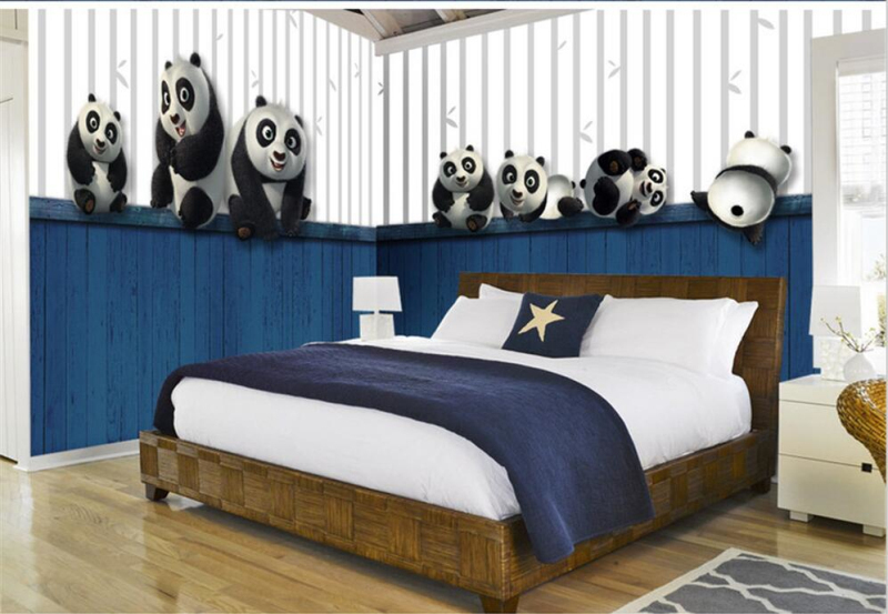 Custom 3D Photo Wallpaper Murals 3d Modern Anime Cute Panda Wall Paper Mural for Kids Room Living Room TV Background Home Decor custom 3d photo wallpaper mural nordic cartoon animals forests 3d background murals wall paper for chirdlen s room wall paper