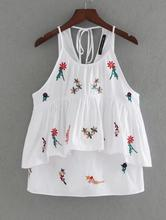 JOYINPARTY women sweet ruffles floral embroidery camis sleeveless back bow tank tops ladies summer casual cute tops