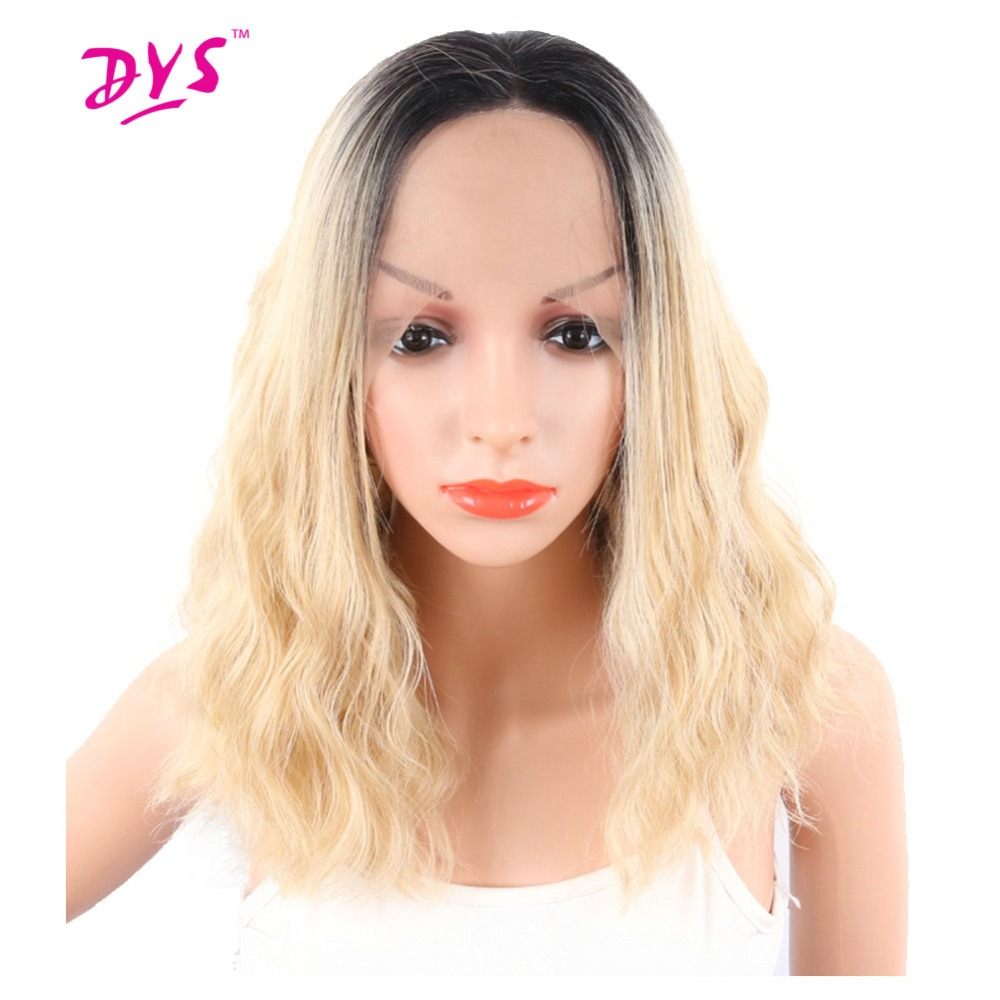 Deyngs Ombre Blonde Short Bob Synthetic Lace Front Wig Pixie Cut Water Wave Wigs With Dark Roots Full Lace Front Wigs For Women