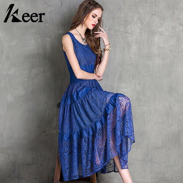 88e2a140e1fe22 Keer Qiaowa Royal Blue Lace Dress Women Elegant Summer 2018 Sleeveless Maxi  Dresses Brand Designer High Quality Female Clothes
