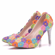 New Sweet Women Pumps Brand Crystal Shoes Sexy Pointed Toe Colorful High Heels Women Wedding Shoes Ladies Stiletto XY-A0024 fashion sweet women 10cm high heels pumps female sexy pointed toe black red stiletto high heels lady pink green shoes ds a0295
