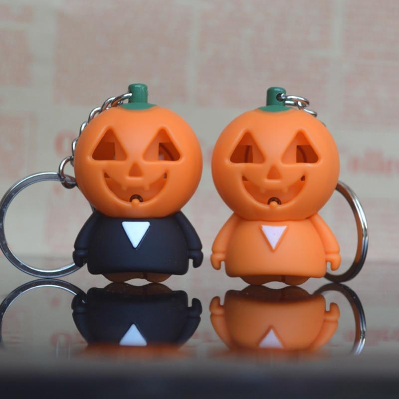 Cartoon Pumpkin LED Light Keychain Keyring Sound Effect Halloween Gift
