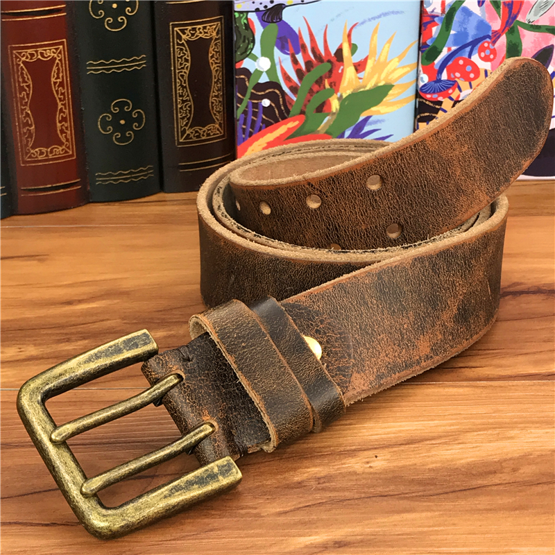 Double Pin Vintage Belt Buckle Super Wide 4.2CM Genuine Leather Men Belt Luxury Ceinture Homme Jeans Cinturon Mujer MBT0018