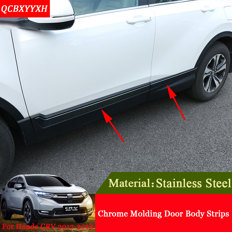 Car Styling Stainless Steel Chrome Molding Car Door Body Decoration Strips Sequins Auto Accessories For Honda CRV CR V 2017 2018