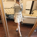 Crop Top And Skirt Set 2016 Spring New Fashion Striped Comfortable Soft Knit Sweater + Skirt Two Piece Sets Women Suit