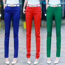 Spring Summer Women Pencil Pants 2018 New Casual Slim Mid Waist Ladies Trousers Pocket Candy Color Office With Belt