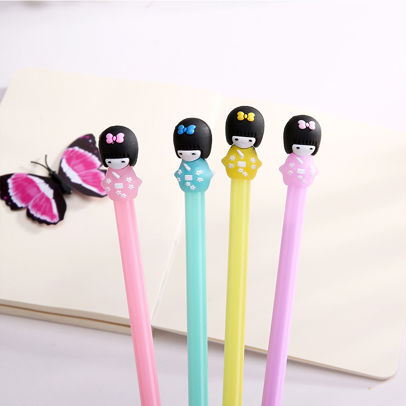 E53 4X Adorable Kimono Japanese Girl Doll Gel Pen Writing Signing Pen School Office Supply Student Stationery Kids Gift 0.5mm