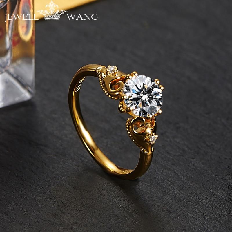 Jewellwang 18 К желтого золота Кольца 1.0ct карат moissanites 0.01ct со  стразами сбоку оригинальный Дизайн покер Обручальные кольца для Для женщин 97e122d4f78