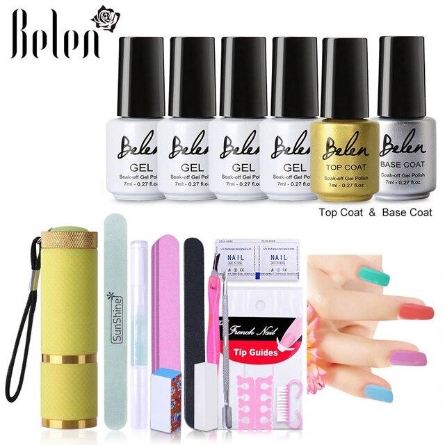 Belen 4pcs Nail Color UV Gel Nail Art Tools Sets Kits Gel Nails Tools 9W LED UV Lamp Nail Dryer Top Coating Base Lacquers