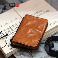 AETOO Original men's ladies old leather handmade cowhide section two fold retro wallet simple wallet Japanese wallet