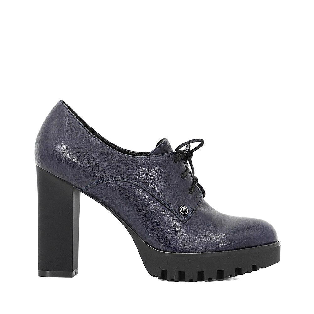 SOPHITINA en cuir véritable dame plate-forme pompes en peau de mouton bleu foncé à lacets haut talon carré femmes chaussures bout rond à la main D59 - 6