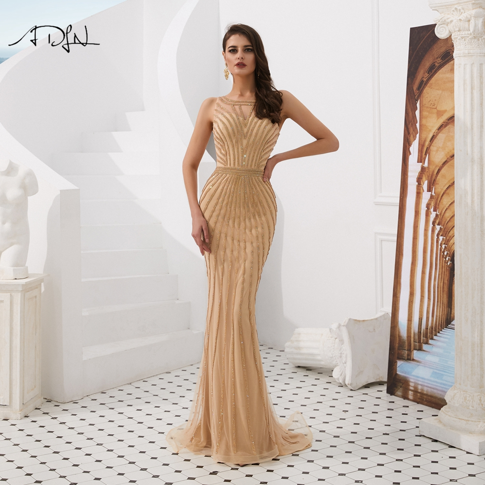 ADLN Luxurious Gold   Prom     Dresses   Jewel Mermaid Evening Gowns 2019 Glitter Sexy Back Floor-length Formal Party   Dress   for Bouquet