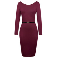 Kate Kasin Work Bodycon Dresses Autumn Style Women 2017 New Arrival Slim Casual Office Sexy U