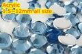 Lt. Sapphire cor 1.5 ~ 12 mm todo o tamanho escolha plano voltar rodada acrílico rhinestone, Resina acrílica 3D Nail Art / vestuário strass