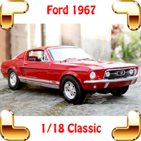 New Arrival Gift Mustang GTA 1967 1/18 Classic Model Car History Collection Toys Vehicle Sedan Cars Close To Real Scale Present