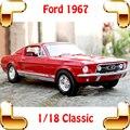 Nuevo Regalo de La Llegada Mustang GTA 1967 1/18 Modelo de Coche Clásico Colección de historia Juguetes Vehículo Vehículos Sedán Cerca A Escala Real presente