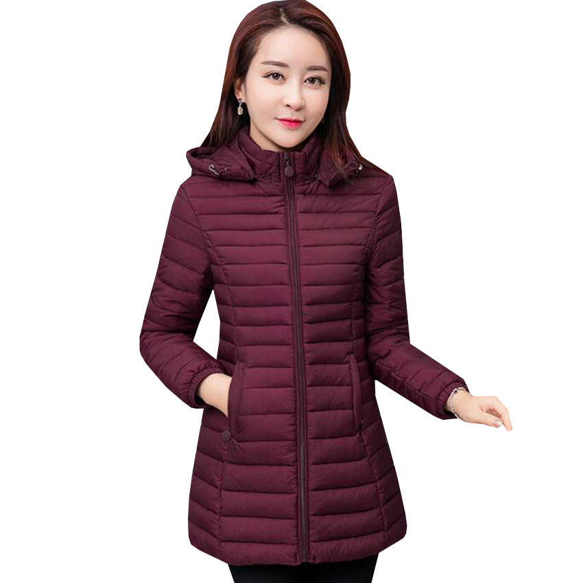 Women Parkas Jacket New Winter Warm Hooded Cotton Coat Plus Size 6XL Outwear Long Jackets Female Slim Padded Parka Coats AB438