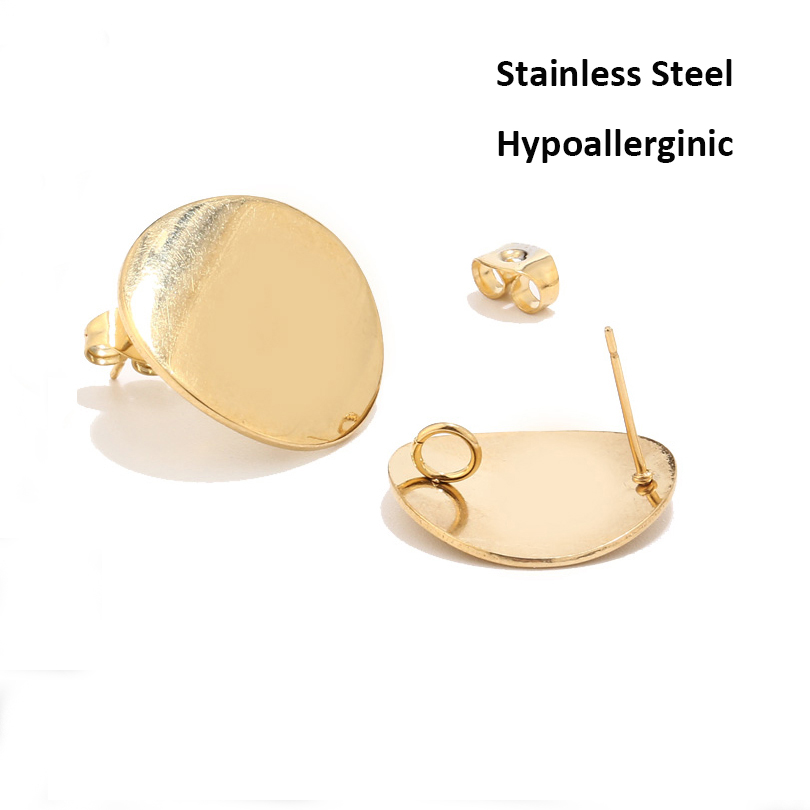 10pcs Blank Round Earring Settings 20mm Gold Silver Post Ear Stud Loop Components For Earring Making