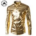 Mens Tendência Boate Metálico Revestido de Prata de Ouro Botão Para Baixo Camisas Elegante Brilhante de Mangas Compridas Camisas de Vestido Para Homens
