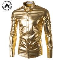 Mens Trend Night Club Coated Metallic Gold Silver Button Down Shirts Stylish Shiny Long Sleeves Dress Shirts For Men